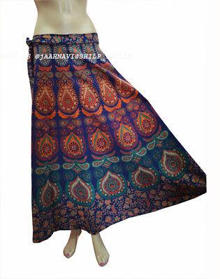 New Indian Handmade Paisley Printed Cotton Mandala Women Long Skirt Repron Wrap