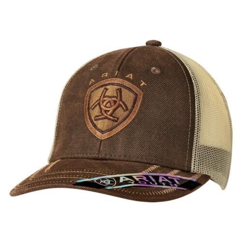 Ariat Kids Hat Youth Boys Baseball Cap Mesh Snap Logo Brown 1519302