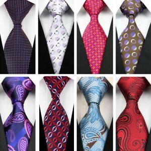 Red-Blue-White-Dots-Paisley-Wedding-Stripe-Necktie-100-Silk-Business-Men-Tie