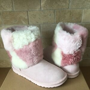 d2166234fc77 UGG Classic Short Patchwork Fluff Pink Suede Boots Size Kids Youth 3 ...