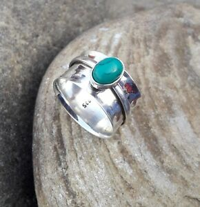 Turquoise-Solid-925-Sterling-Silver-Spinner-Meditation-Statement-Ring-Size-M400