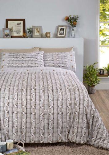 Bedding Heaven Arran Knit effect 100/% Brushed Cotton Flannelette Duvet Cover Set