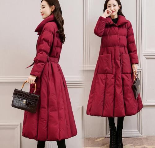 Warm Kvinders Coat Maxi Windbreaker Størrelse Parka Long Collar Down Solid Duck Winter xa468q0an