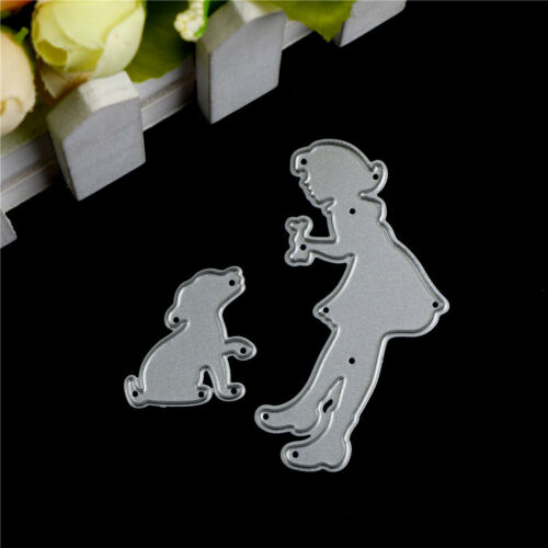 Dog and Girl Metal Cutting Dies Stencils Scrapbooking Album Decor Embossing LY