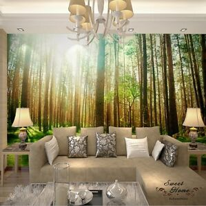 Image Is Loading Sunshine Woods Forest Landscap Full Wall Mural Wallpaper  Awesome Design