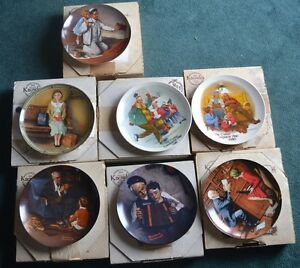 Vtg Knowles Norman Rockwell Collector Plate Bradford Exchange Lot of 7 in box