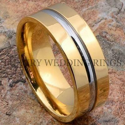 Titanium 14K Gold 8mm Mens Wedding Ring Band Size 9