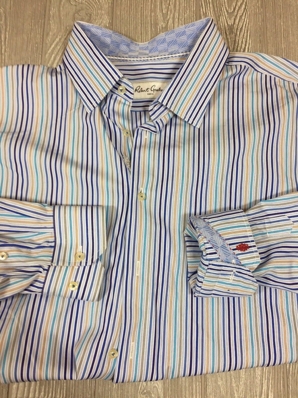 edaa311b37 Robert Graham Mens Multi color Button Casual Shirt Sz 18 46 34 35 ...