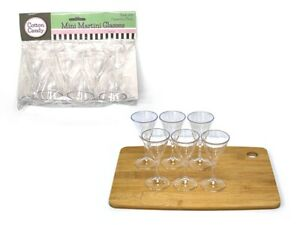 24x Mini Martini Glass Cup Shot Clear Plastic Cups Glasses Party Reusable Martin