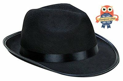 Wide Brim Gangster Hat One Size Fits Most Adult Men Fedora Hats Black Thick  Felt 606955779628 | eBay