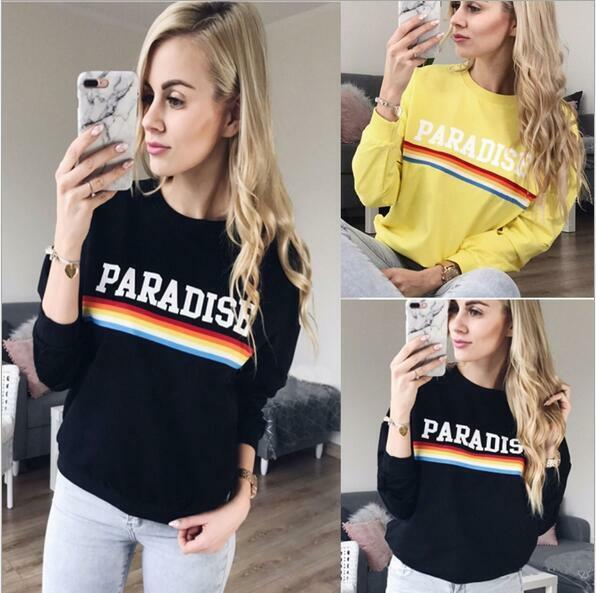 Woman Long Sleeve Hoodie Rainbow & Paradise Letter Printed Pullover Hoodie S-XL