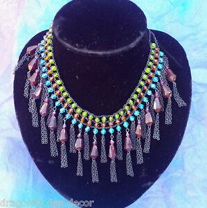 Egyptian-Revival-Multi-Coloured-Plastic-Jewels-Dangle-Tassel-Beads-Bib-Necklace
