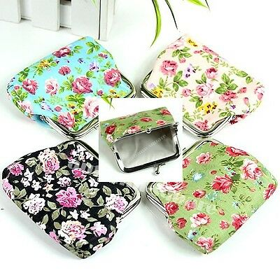 New Retro Roses Floral Fabric Clip Package Coin Hand Bag Purse Cosmetic Pouch