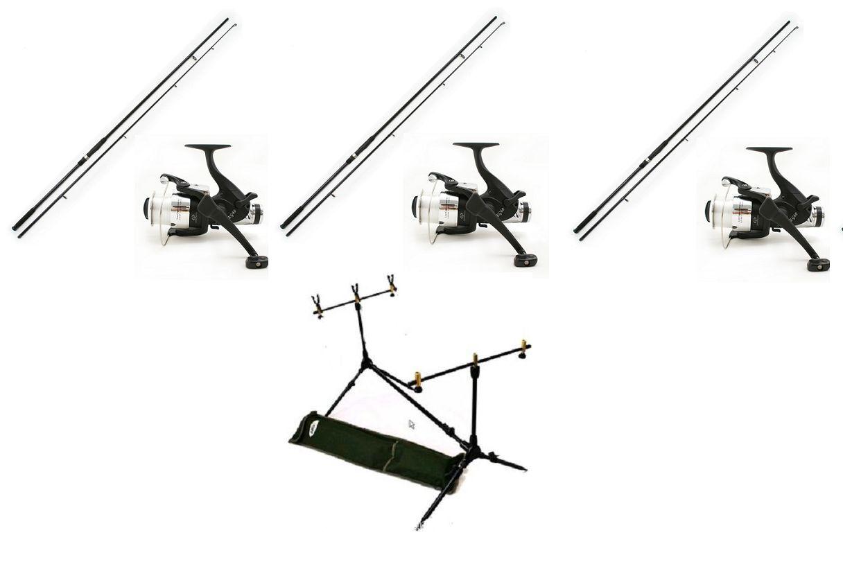 3 X 12FT 2.75LB Carp Rods  + 60 Size Free Spin  Reels With Line + Carp Rod Pod