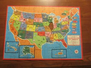 Details about Authentic Map of the United States cut on state lines 2 maps  Milton Bradley 1961