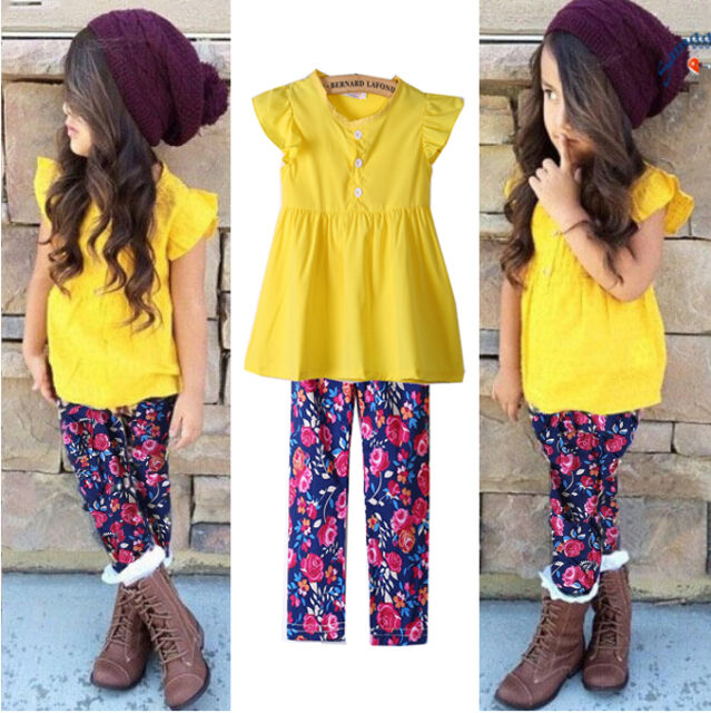 Cute Baby Kids Girls Cute Tops+Floral Pants 2Pcs Outfits Set Clothes 1-6Years