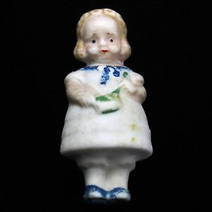 "Dolls Vintage Germany 1 3/4"" Bisque Girl Doll Minature Painted Dress"