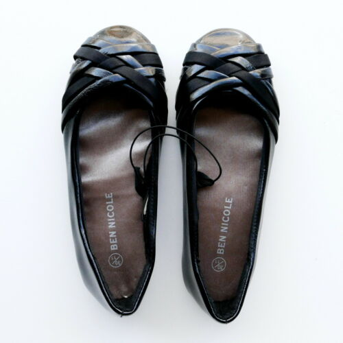 12 GIRLS BLACK FLAT SHOES WITH PATENT /& SATIN STRAPS BY BEN NICOLE SIZE 11
