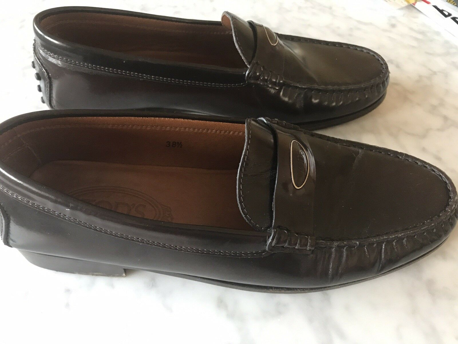 Tods Chocolate Loafer Brown Leather Flats Penny Loafer Chocolate Shoes 38.5 Italy 8a755b