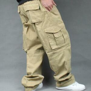 Mens-Casual-Baggy-Loose-Overalls-Cargo-work-Cotton-Pants-Hot-plus-size-New
