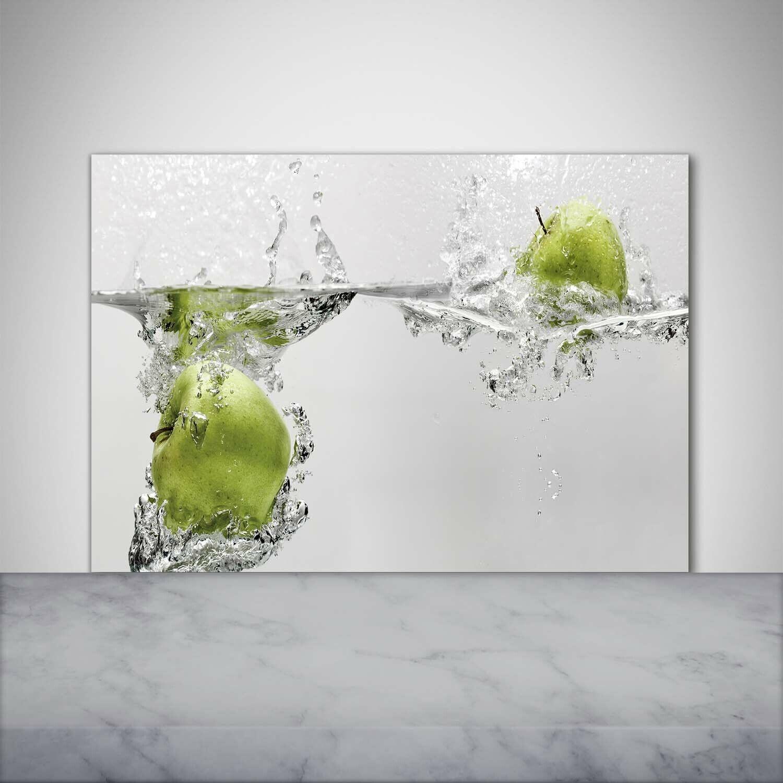Küchenrückwand Spritzschutz aus Glas 100x70 Deko Essen & Getränke Apfel Wasser