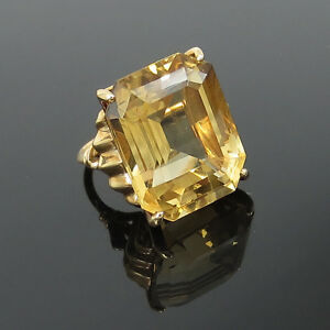 7d0286d1f154d Details about 1950's Retro 20.0ct Emerald Cut Natural Citrine & 14K Rose  Gold Ring - Size 5