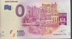 BILLET 0  EURO  AMSTERDAM PAYS BAS   2017  NUMERO 100