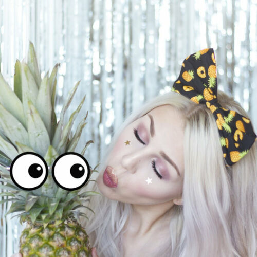 Tropical Black with Yellow Pineapple Print Large Bow Headband Fruit