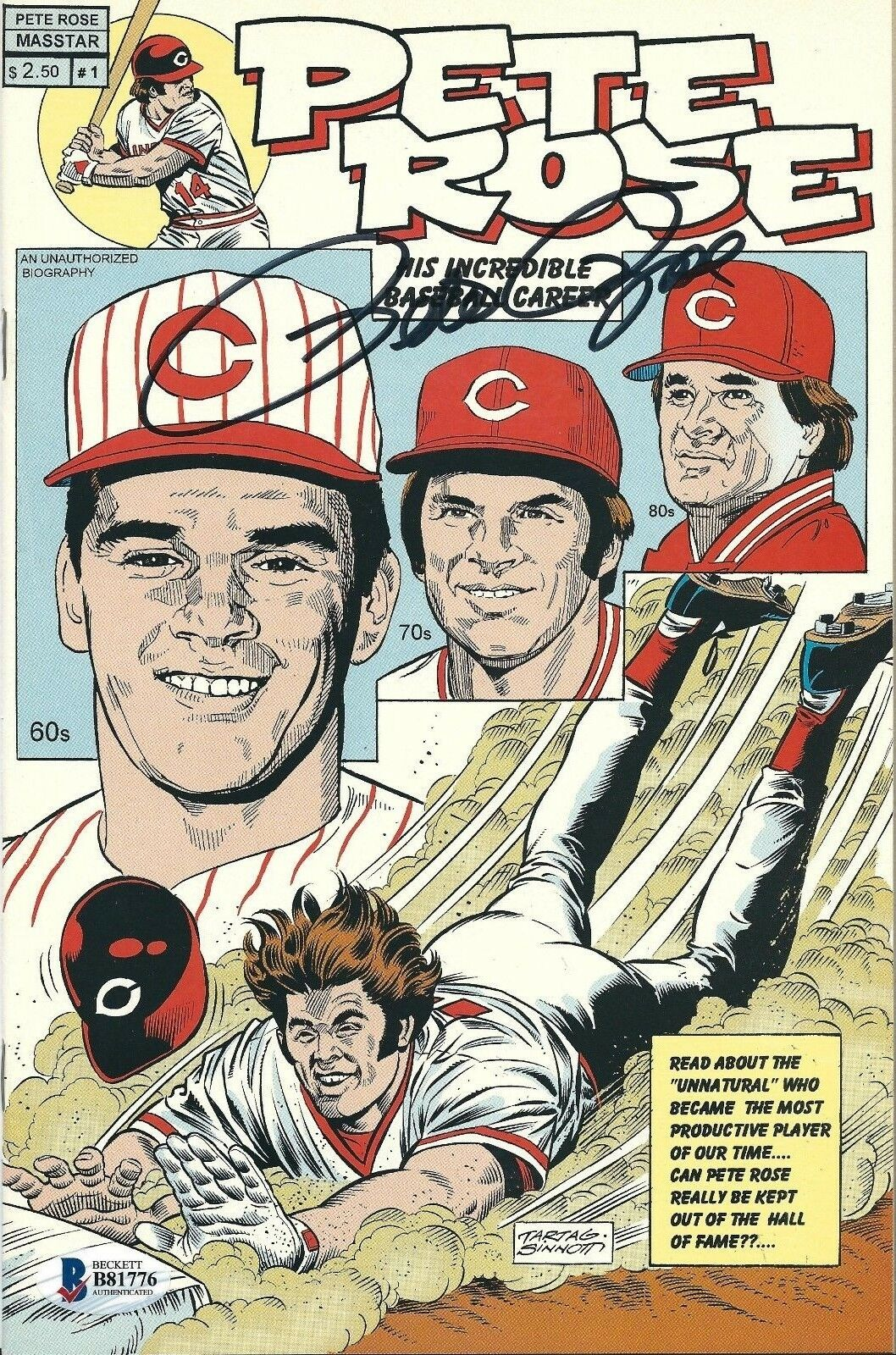Pete Rose Signed Cincinnati Reds Baseball Comic Book Beckett B81776