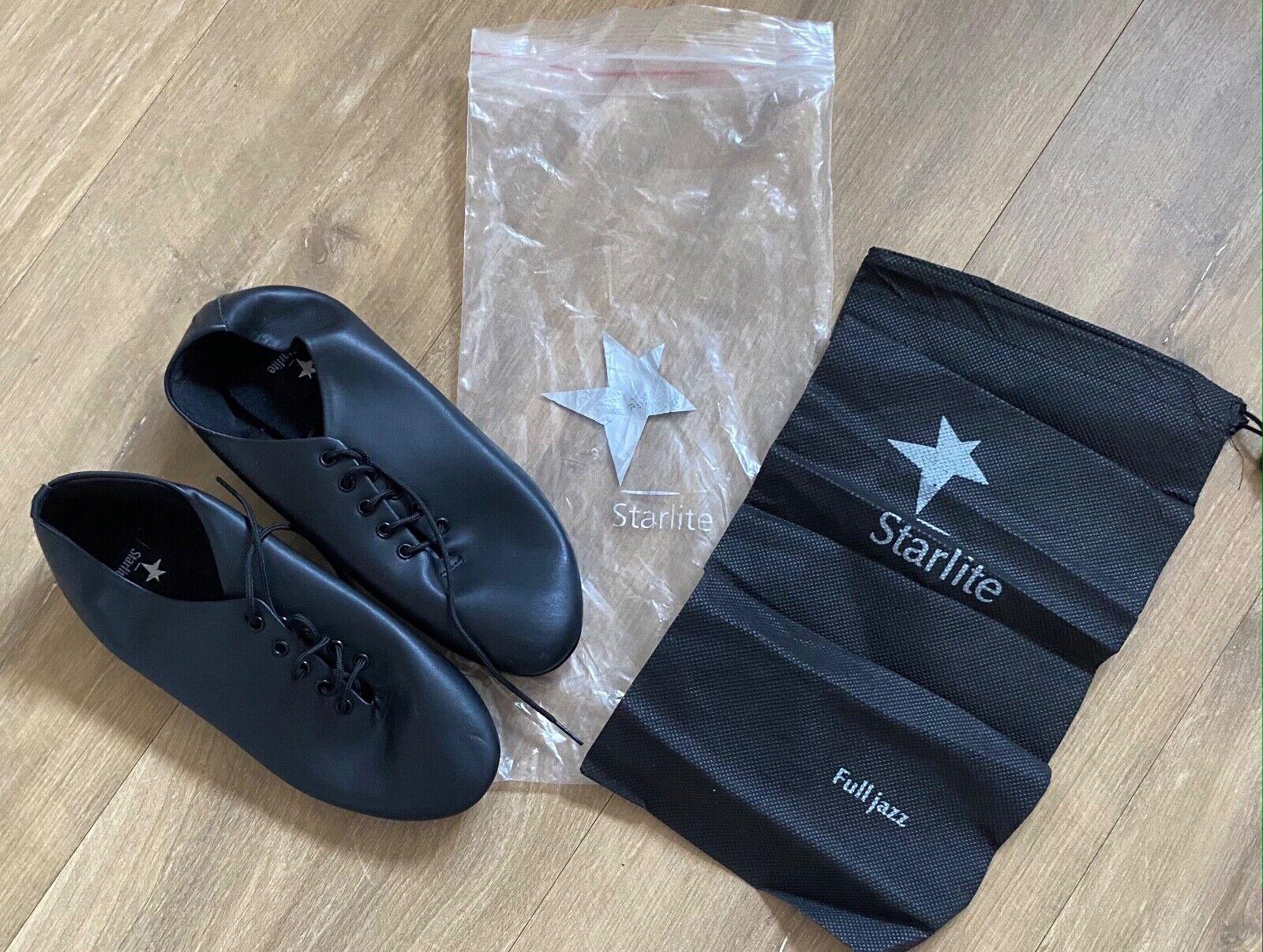 BNWT Black STARLITE Full Sole Jazz Dance Shoes & Carry Bag UK 3