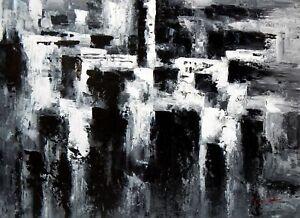 Abstrait - Nuit A Paris 80x110 Cm Peinture à L'huile