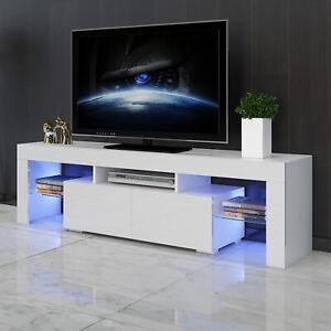 63-034-White-High-Gloss-TV-Stand-Unit-Entertainment-Center-LED-Shelf-2-Large-Drawer