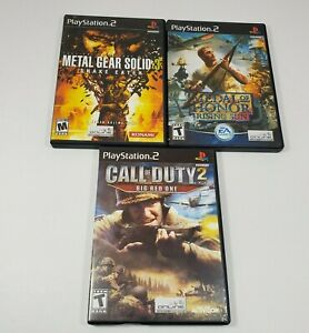 Sony-Playstation-2-Metal-Gear-Solid-3-Medal-of-Honor-Call-of-Duty-2-Game-Lot-PS2