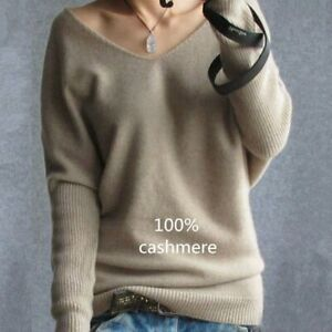 Cashmere-Sweaters-Women-V-neck-Sweater-Loose-Wool-Sweater-Plus-Size-Pullover
