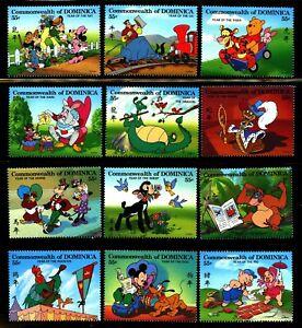 Disney-Lunar-Calendar-mnh-12-stamps-1996-Dominica-1830a-l-Mickey-Goofy-Tigger