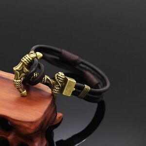 Image Is Loading Mens Womens Multilayer Genuine Leather Wrap Rope Cuff