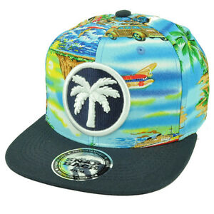 953e4a4f0bb43 Image is loading Palm-Tree-Beach-Sand-Ocean-Vacation-Tropical-Snapback-
