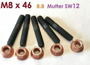 8 Stück Stehbolzen M8x46 8.8 (M8x45) + Kupfermutter M8 mit Bund SW12
