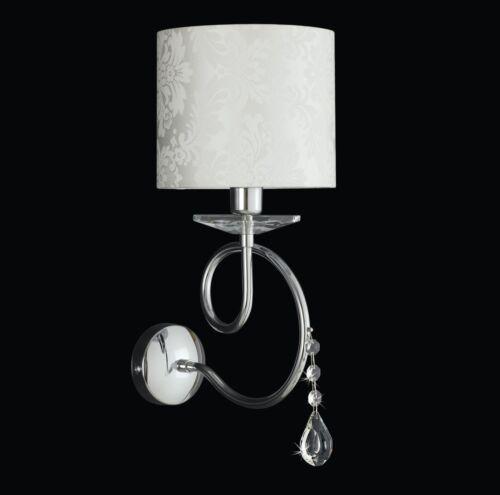 Applique ferro battuto cromo strass moderno cristalli paralumi bianco damascato