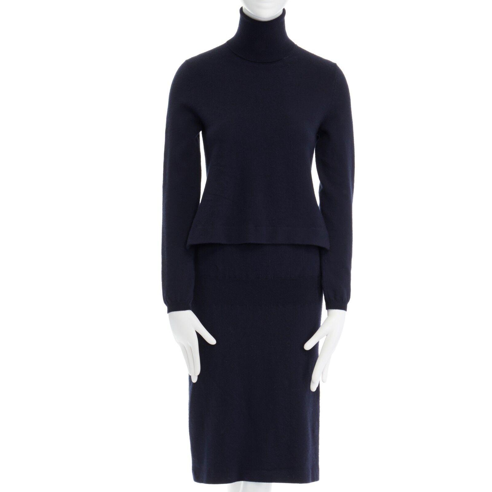 JIL SANDER bleu marine laine col roulé synthétique Pull à hommeches longues robe M
