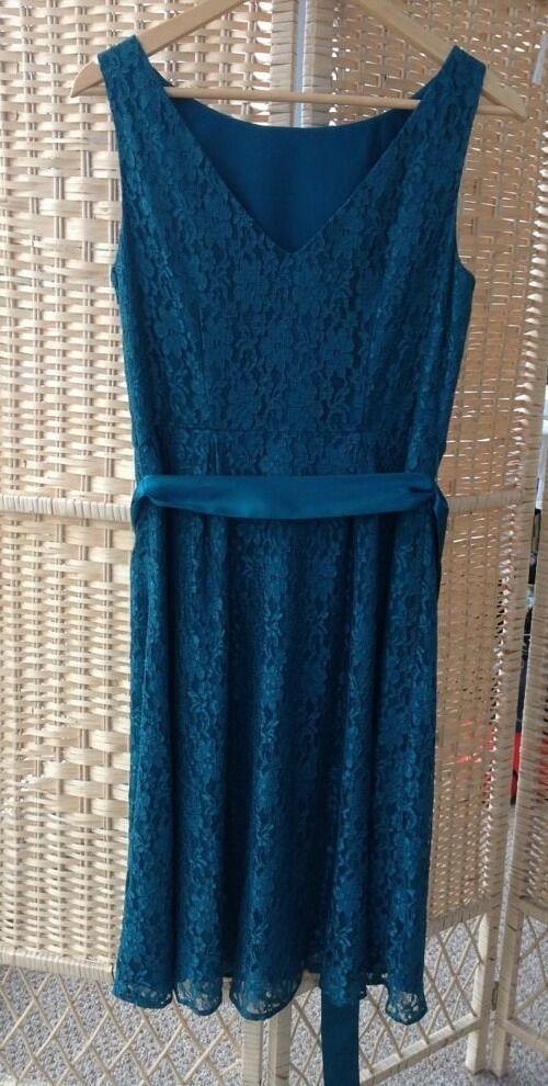Monsoon Beautiful Emerald Green Lace Overlay Dress Size 12 Occasion Wedding