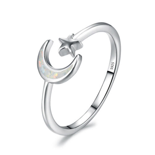 Moon Star Wedding Band Rings Fashion 925 Sterling Silver Fire Opal Opening Rings