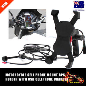 "Motorcycle Universal Cellphone Mount Holder With USB Charger For 3.5-6""Phone GPS"