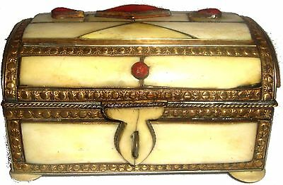 Moroccan Camel Bone Jewelry Box 21 Brass Chest Natural Inlaid GREAT GIFT IDEA
