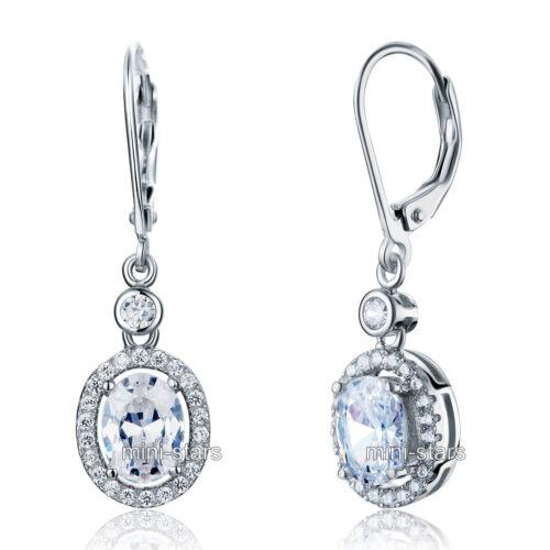 1.5ct Ovalschliff Synthetischer Diamant Lang Sterling 925 Silver Braut Ohrringe