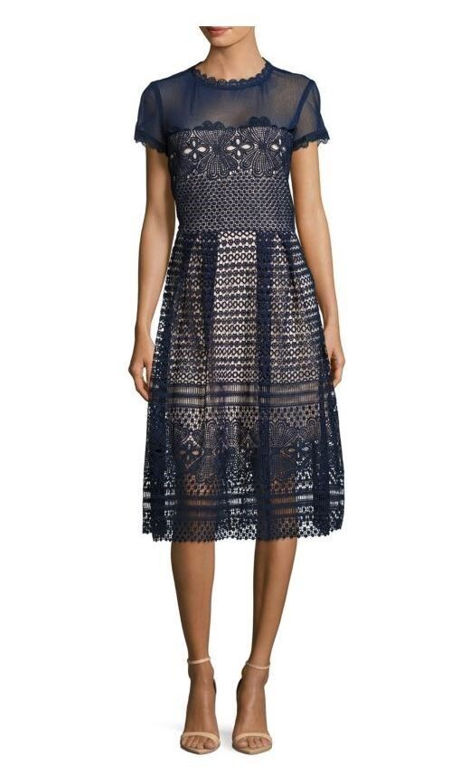 Stunning Saks Fifth avenue navy Blau Dress Größe 8, new with tags