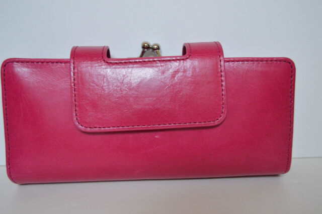 Hobo International Nancy Fuchsia Leather Wallet Wristlet Clutch New