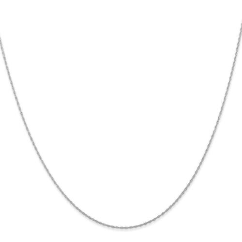 """14k White Gold 0.50mm Carded Rope Chain Necklace 16/"""" 24/"""""""