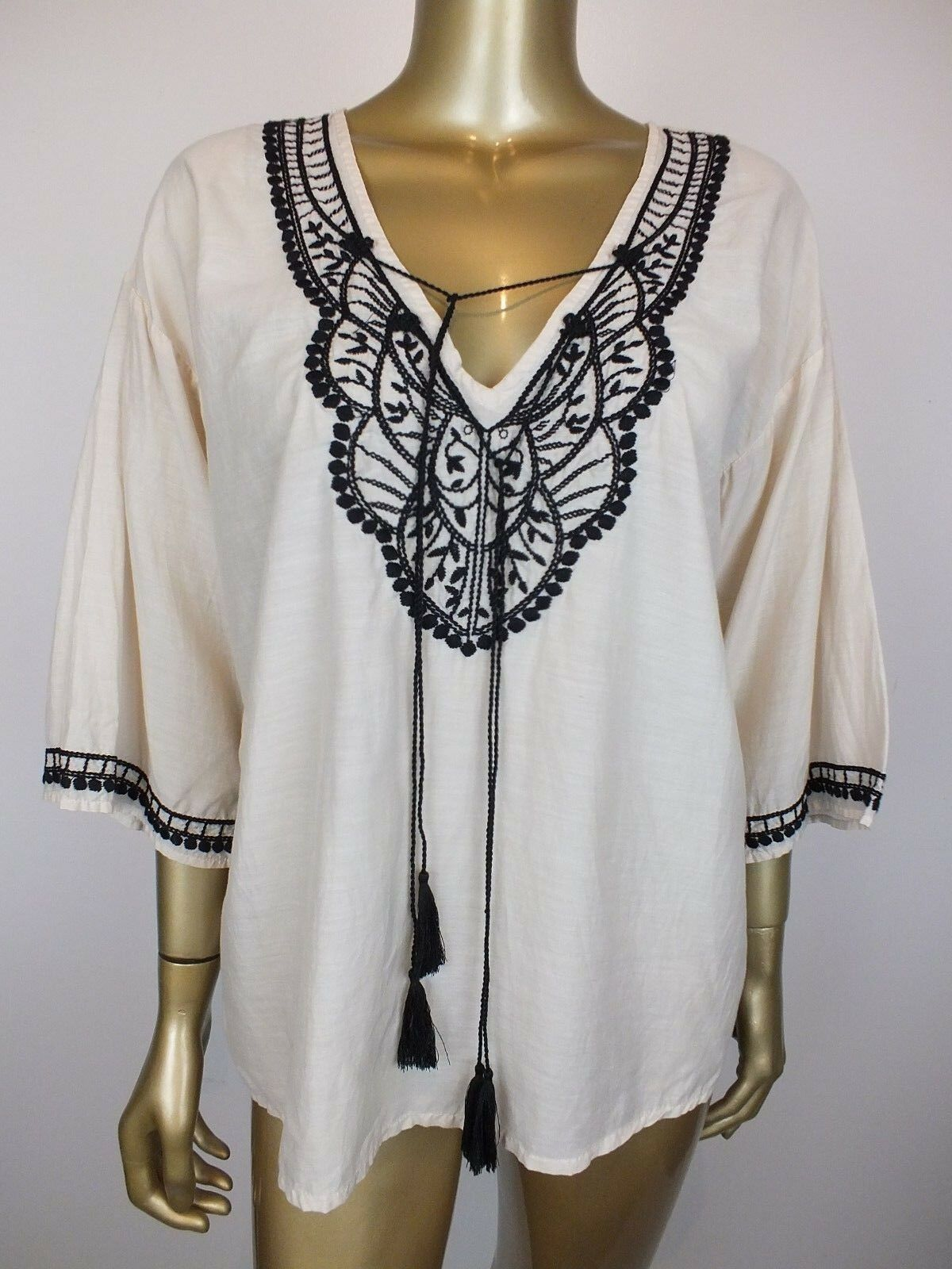 COUNTRY ROAD BLOUSE KAFTAN TOP TUNIC SHIRT BLOUSE - BOHO  EMBROIDERED - S
