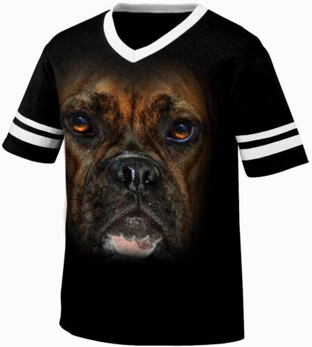 Big Boxer Head Dog Lovers Canine Man/'s Best Friend Animal Retro Ringer T-shirt